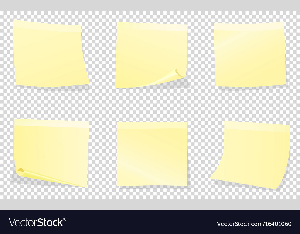 Yellow sticky notes isolated on transparent Vector Image
