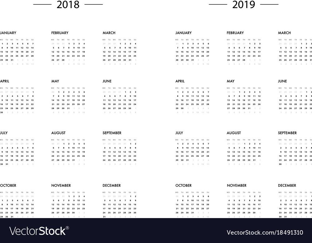 Calendar 2018 2019 year template Royalty Free Vector Image - 12 calendar