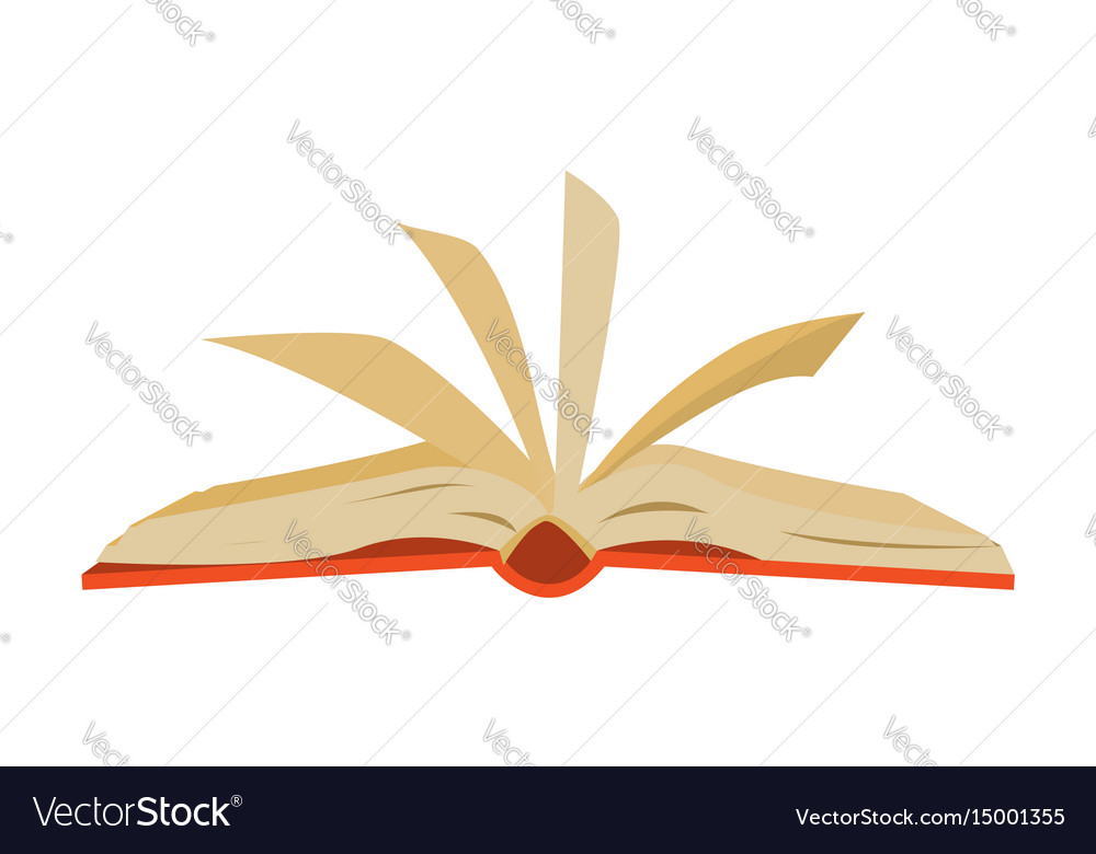 Red covered opened book with pages fluttering Vector Image - opened book