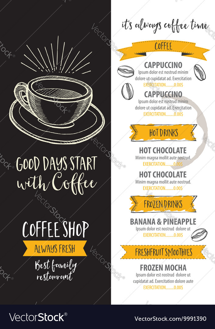 Coffee restaurant cafe menu template design Vector Image - Cafe Menu Template