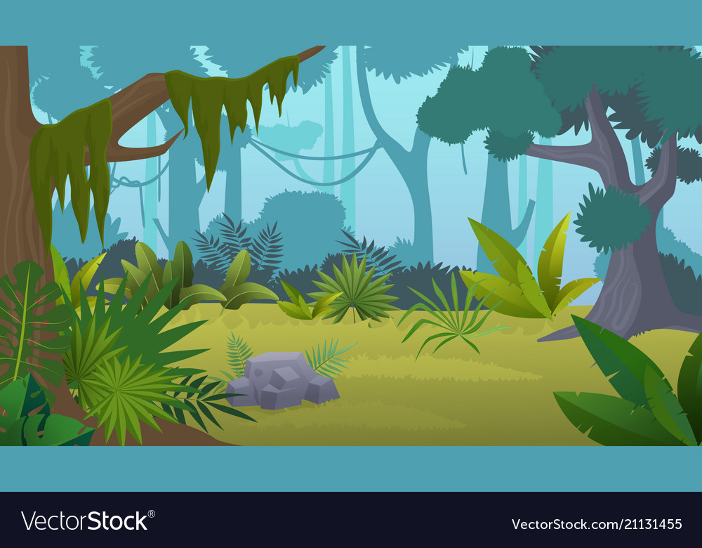 Cartoon empty tropical rainforest jungle Vector Image