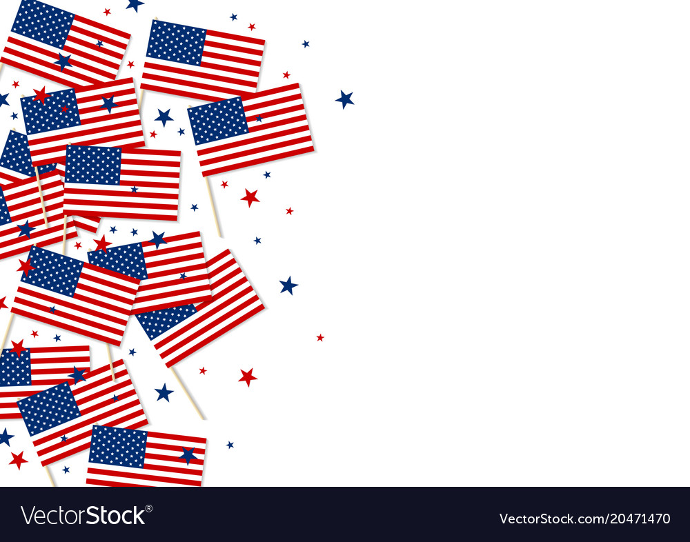 Usa or america flag and star on white background Vector Image - America Flag Background
