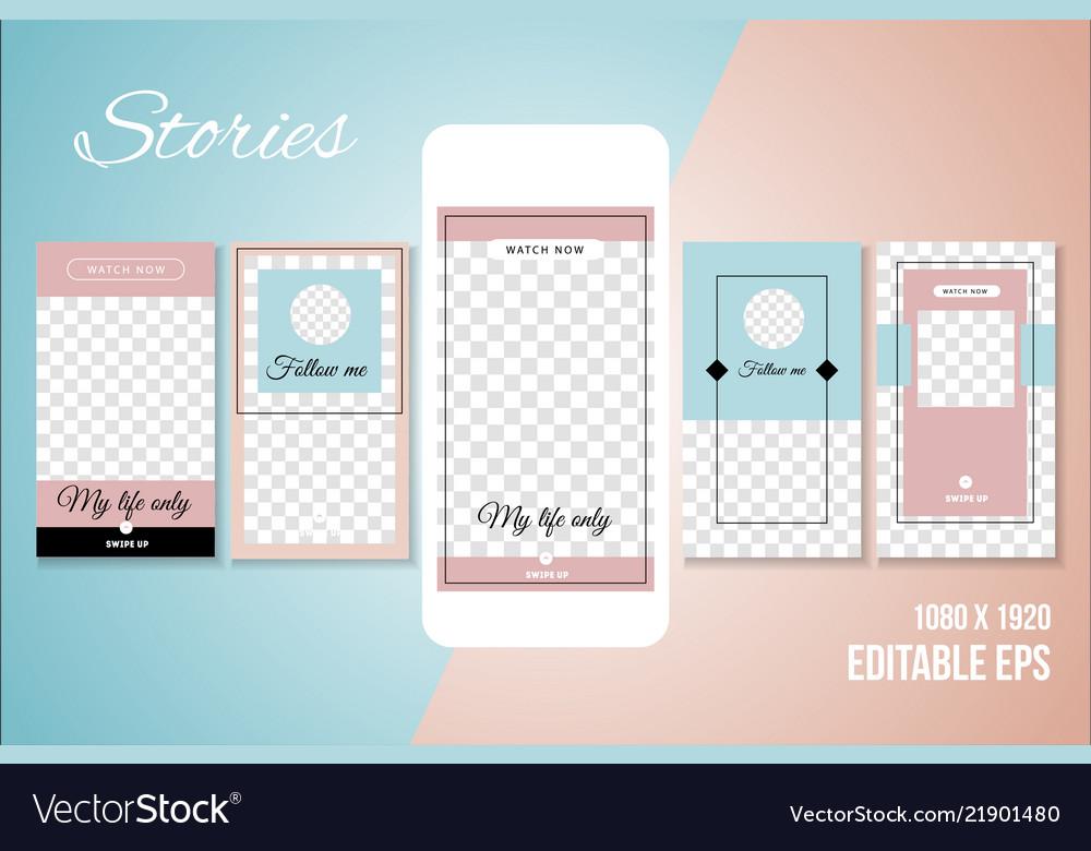 Editable social media stories template Royalty Free Vector
