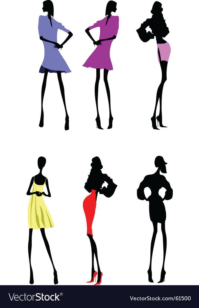 Fashion girls designer silhouette sketch Vector Image