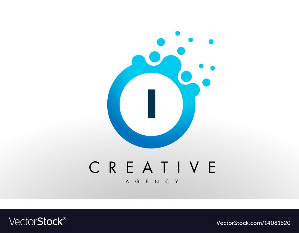 I letter logo blue dots bubble design Royalty Free Vector
