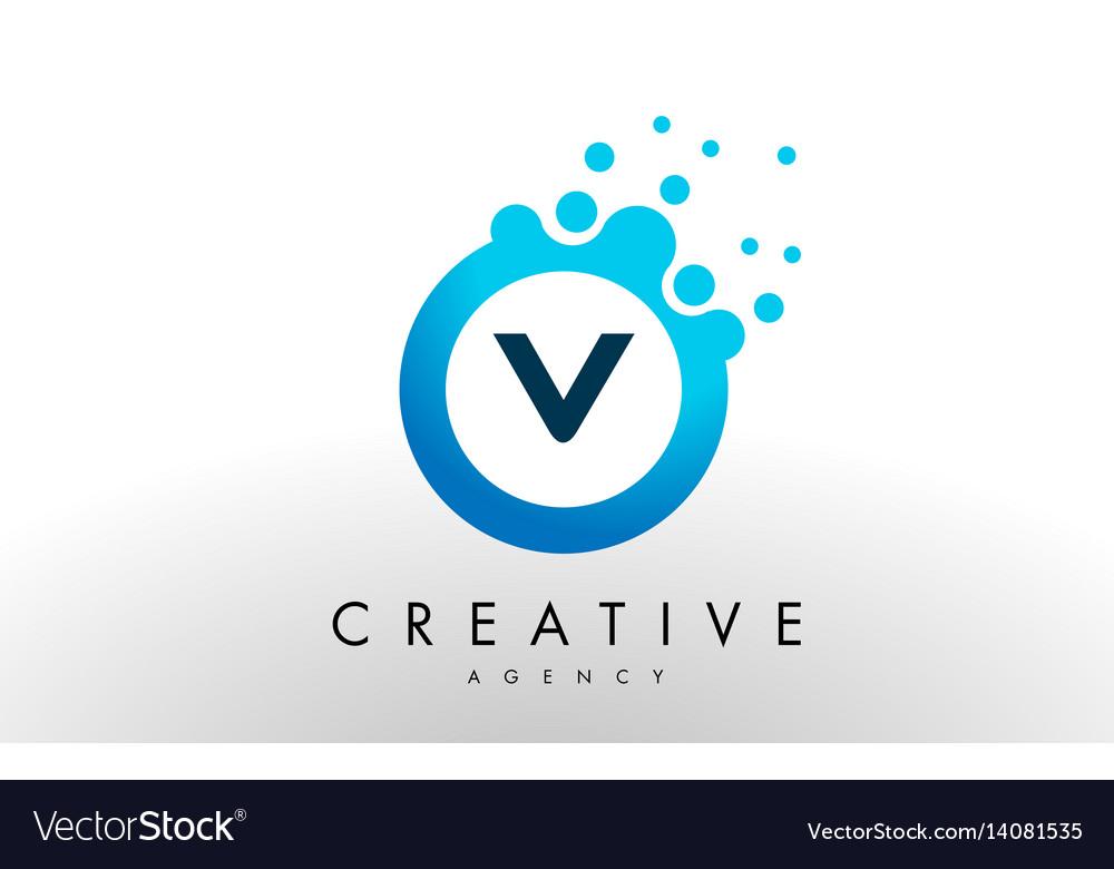V letter logo blue dots bubble design Royalty Free Vector