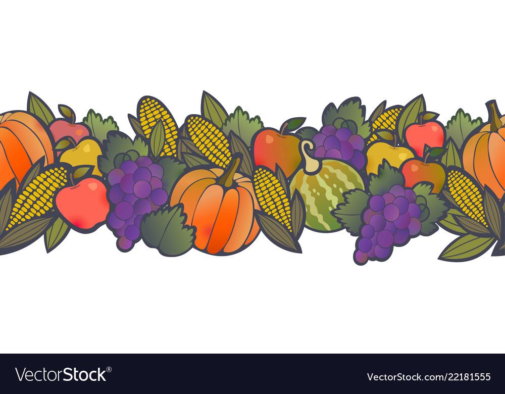 Autumn harvest seamless border pattern Royalty Free Vector