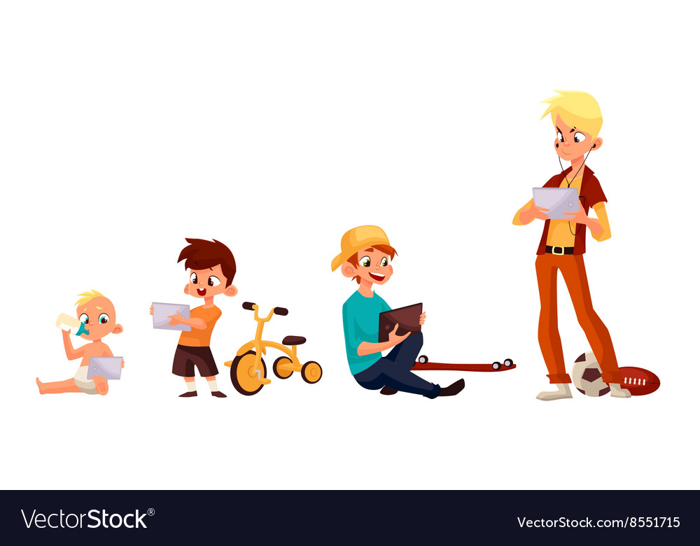 Children play in the smartphone or tablet Vector Image - cartoon children play