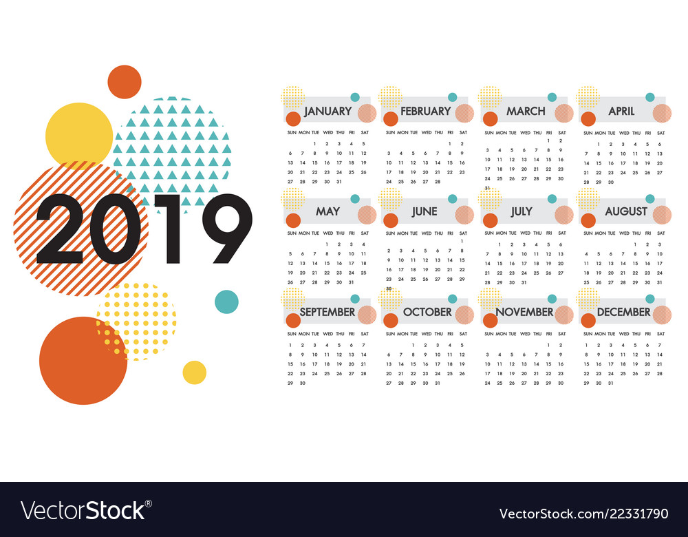 Calendar for the year 2019 white design Royalty Free Vector