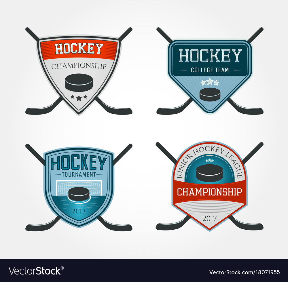 Hockey Logos Set Of Colorful Hockey Logos Vector Image On Vectorstock