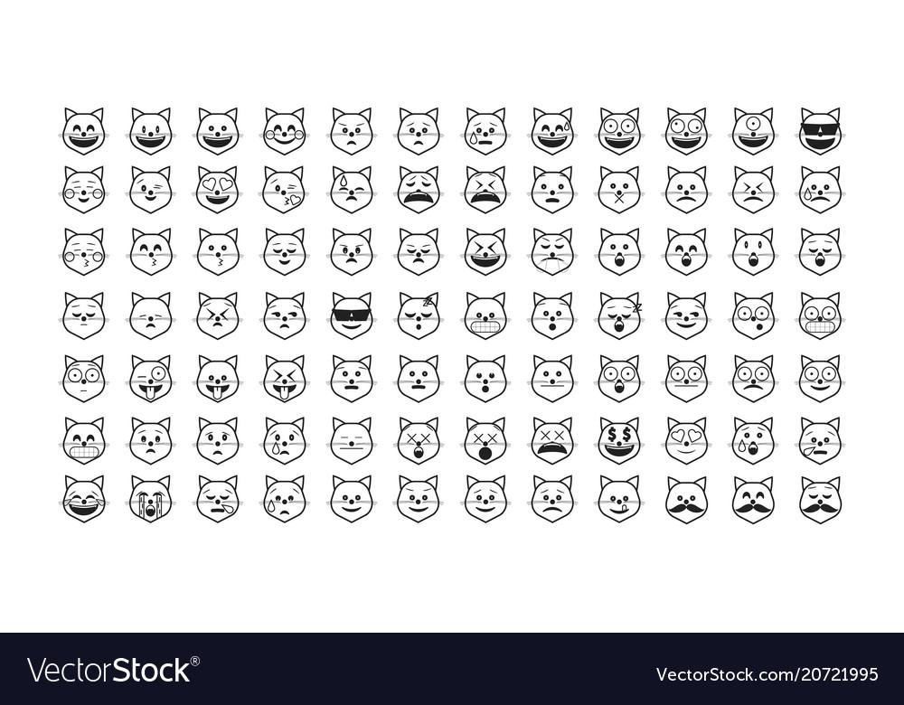 Set of black cat emoji Royalty Free Vector Image