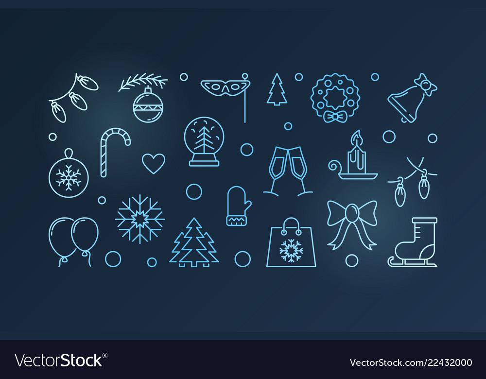 Happy holidays blue horizontal banner Royalty Free Vector