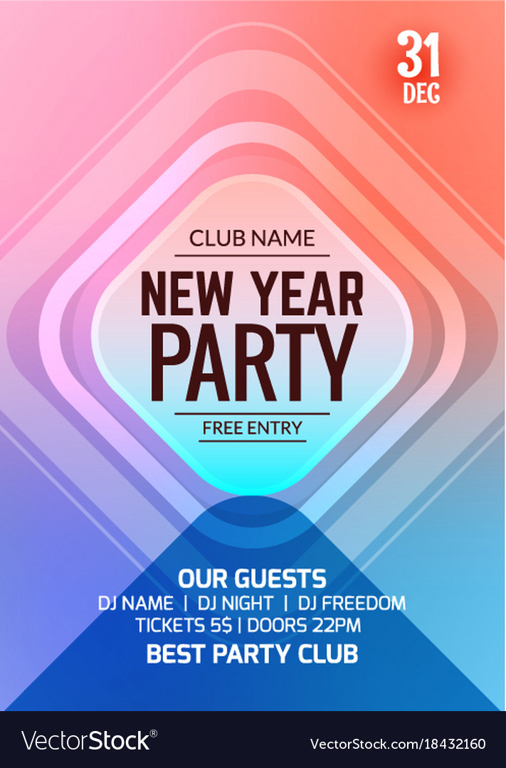 New year party flyer design template Royalty Free Vector