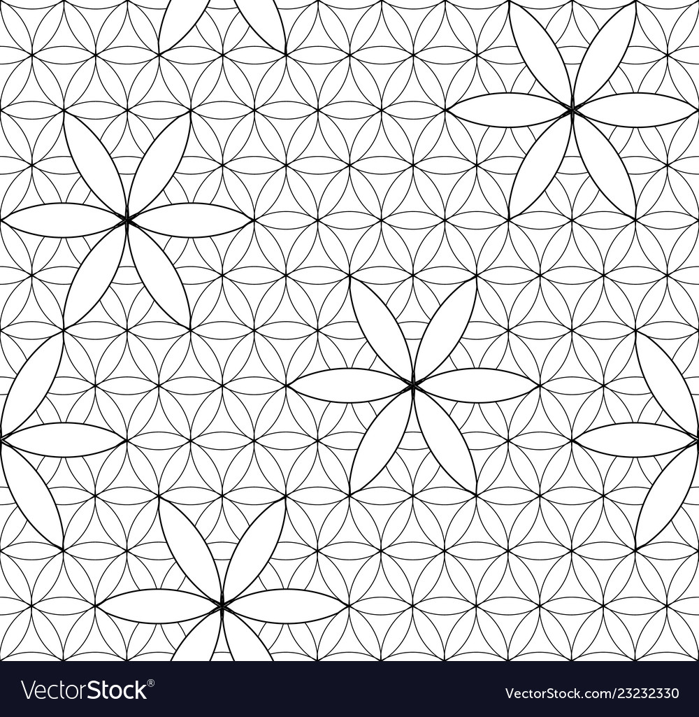 Flower Life Sacred Geometry Seamless Pattern Vector Image