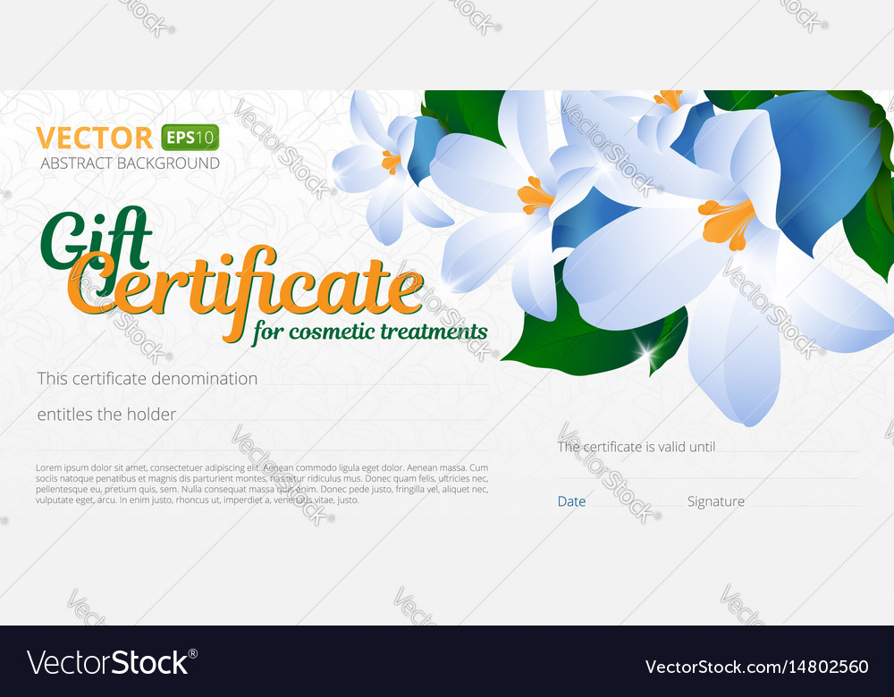 Gift certificate or voucher template for cosmetics