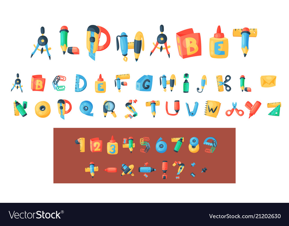 Alphabet stationery letters abc font Royalty Free Vector