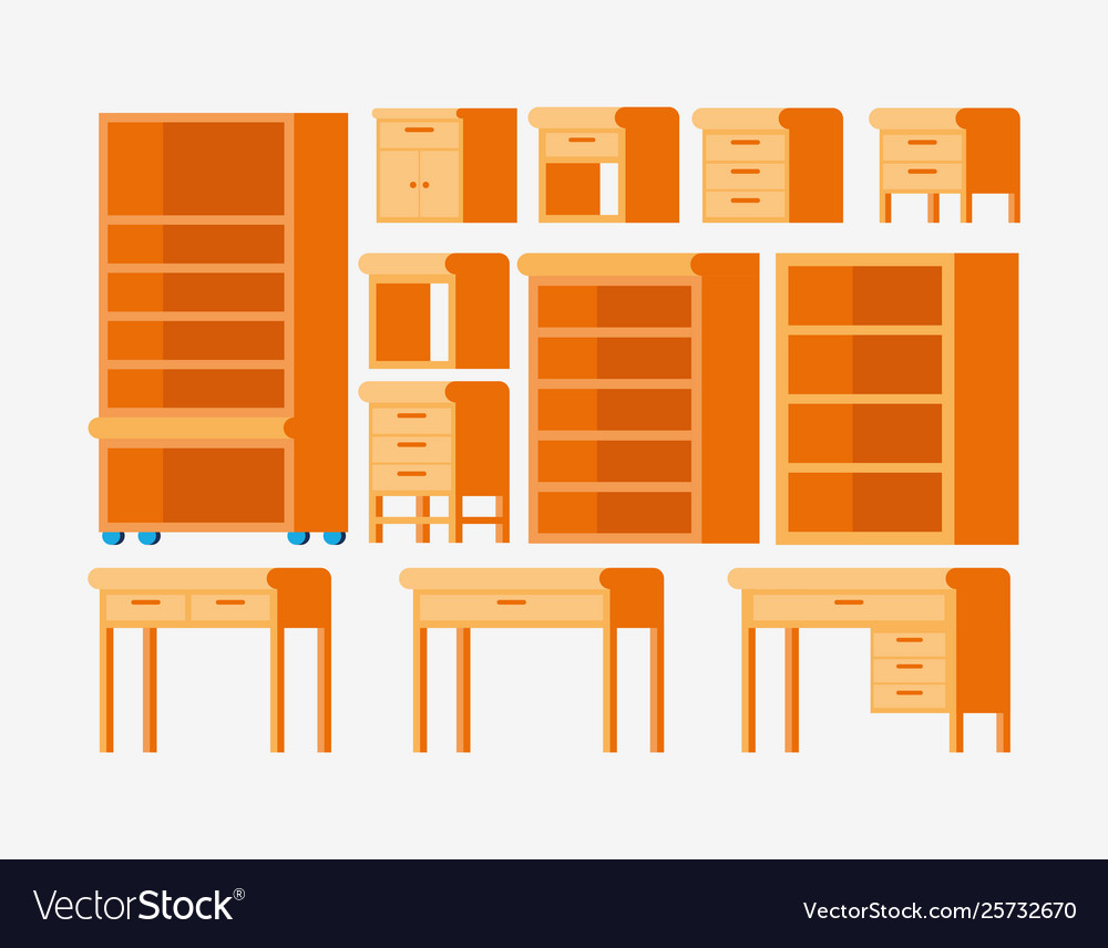 Isolated Types Wood Furnitures Design Royalty Free Vector