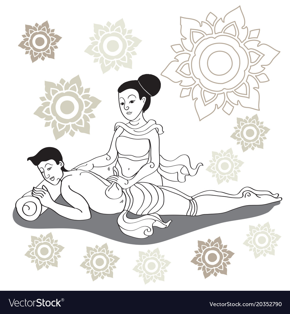 Salon De Massage 93 Thai Massages Style In Colorful With Hand Drawn Vector Image