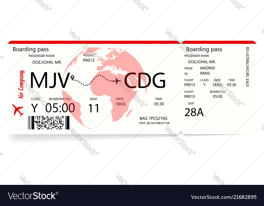 Red airplane ticket boarding pass ticket template Vector Image