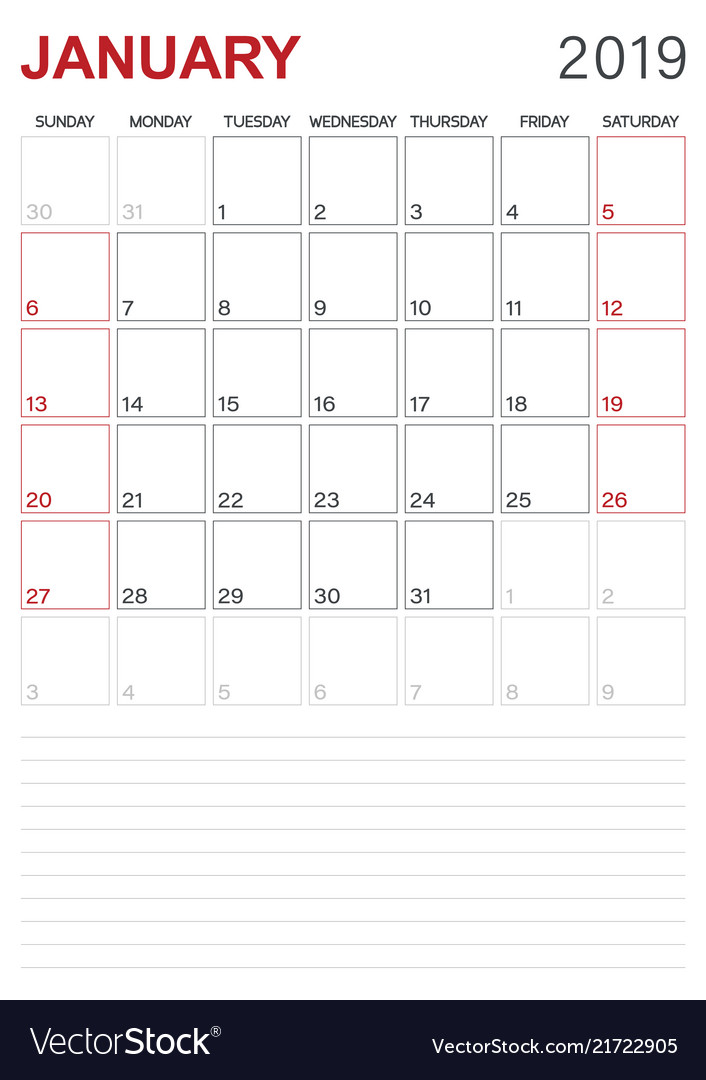 English calendar - january 2019 Royalty Free Vector Image