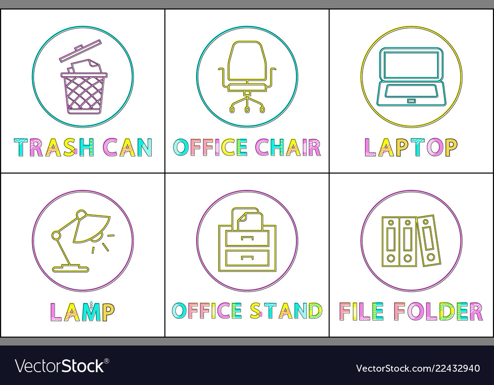 Office supplies as round linear icons templates Vector Image