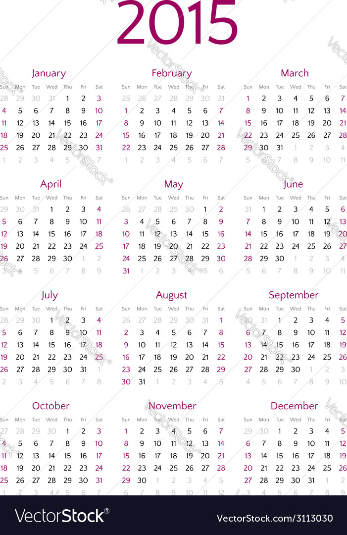 Simple 2015 year calendar grid Royalty Free Vector Image
