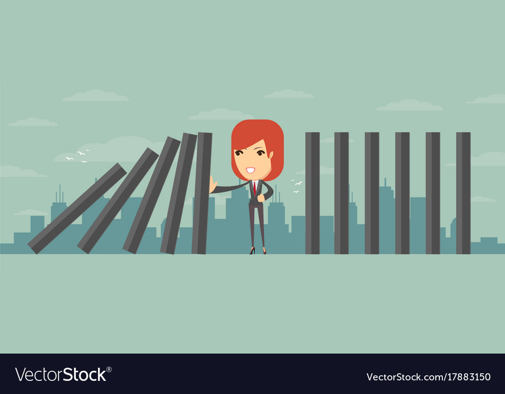Domino effect and problem solving Royalty Free Vector Image