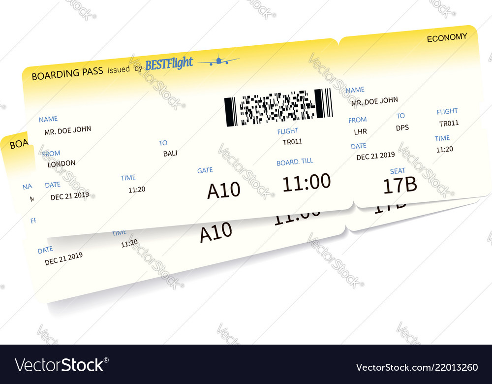 Airplane ticket template Royalty Free Vector Image