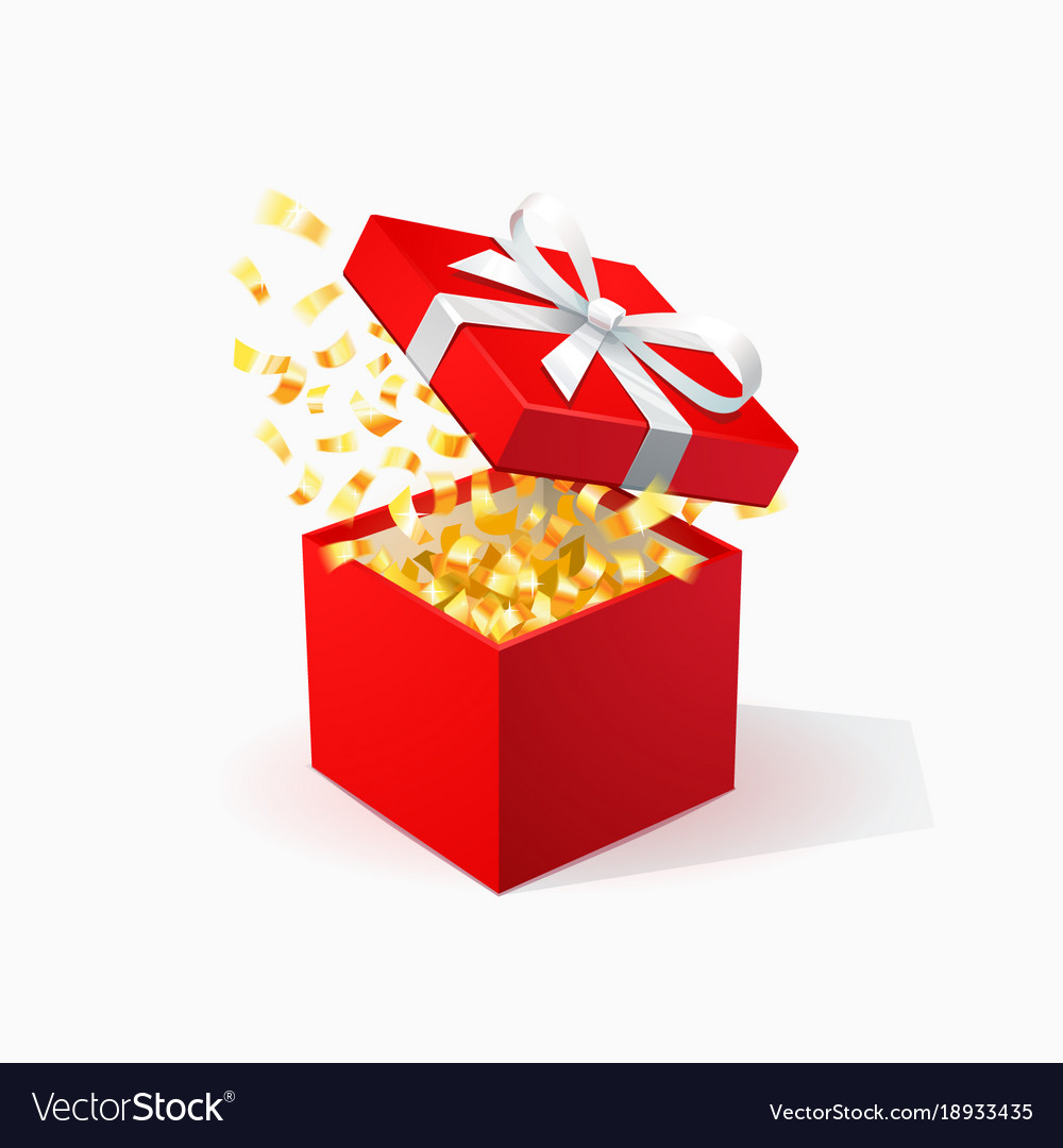 Gift Box Red Gift Box With Golden Confetti Open Red Box