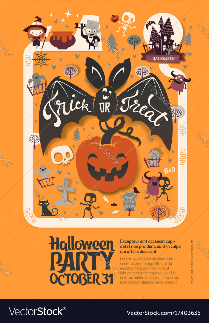 Holiday happy halloween flyer template with funny Vector Image - halloween flyer template