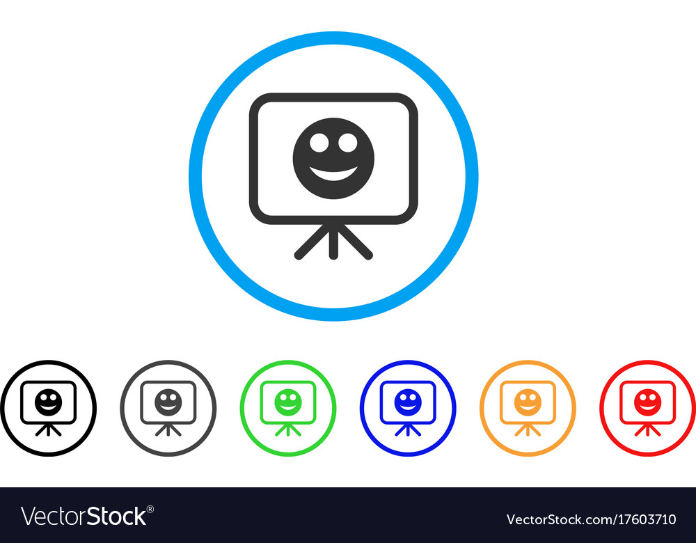 Presentation board smile rounded icon Royalty Free Vector