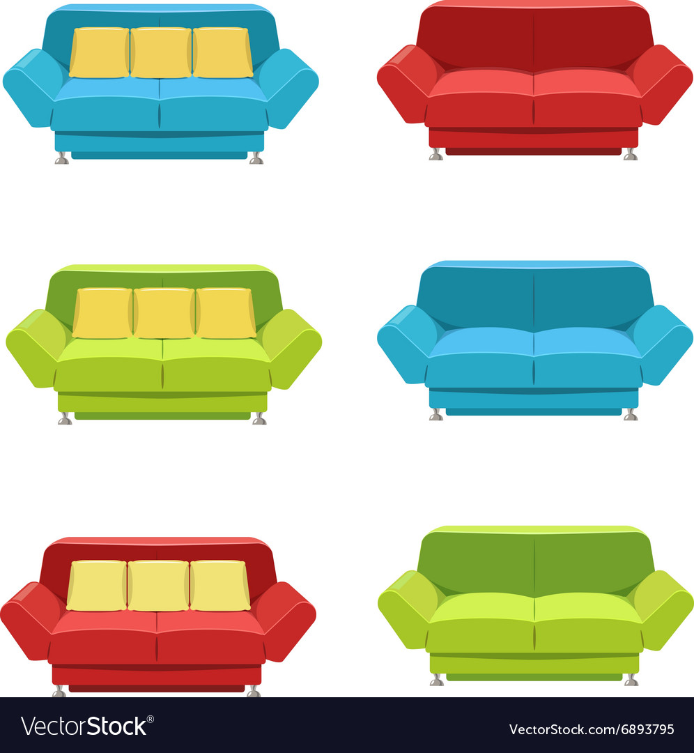 Sofa Set Vector Free Download Flat Sofa Icons Set