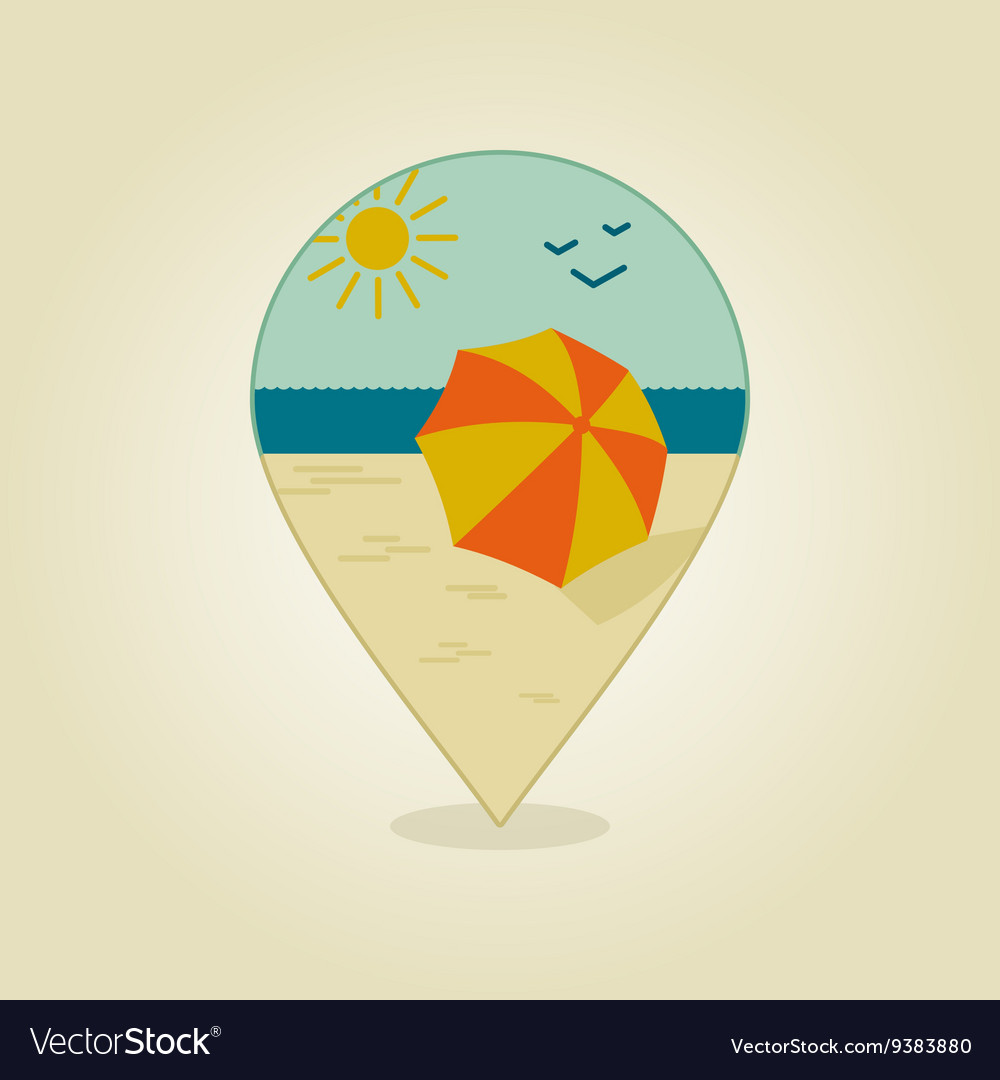 Parasol Pin Beach Parasol Pin Map Icon Summer Sand Sun Sea