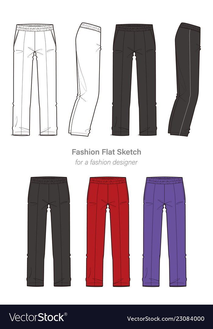 Pants fashion flat technical drawing template Vector Image