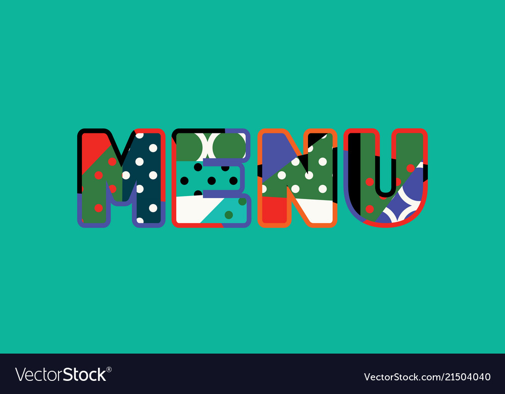 Menu concept word art Royalty Free Vector Image