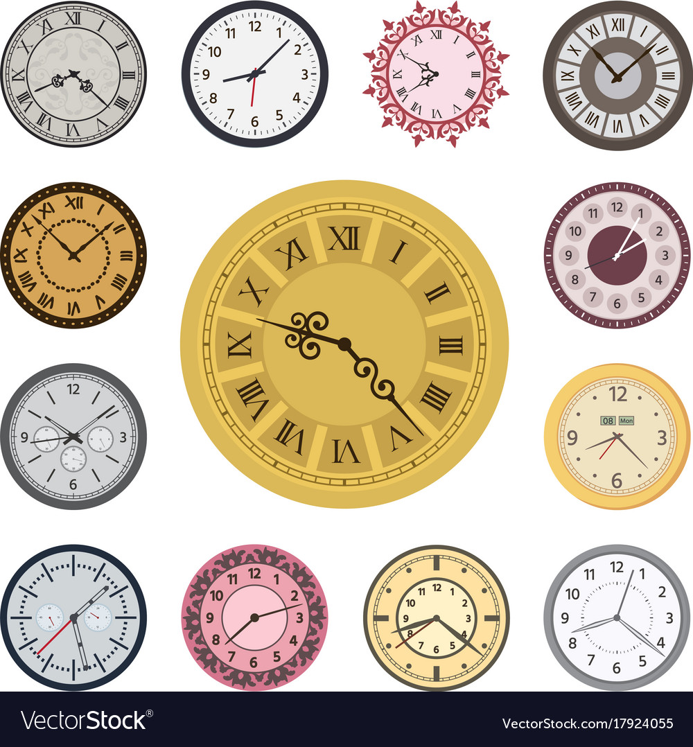 Horrible Colorful Clock Faces Vintage Parts Index Vector Image Colorful Wall Clock Image Wall Art Decorations Clock Faces furniture Fancy Clock Faces