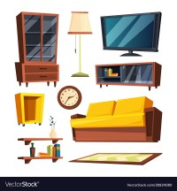 Living room furniture items Royalty Free Vector Image