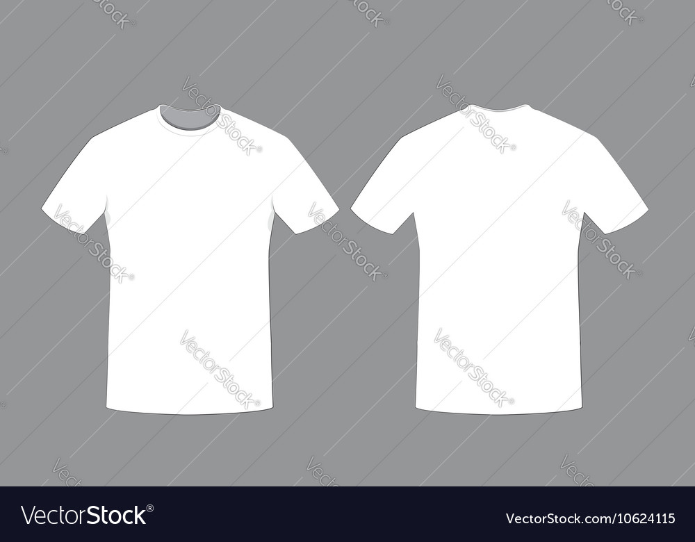 White man t-shirt template front and back sides Vector Image