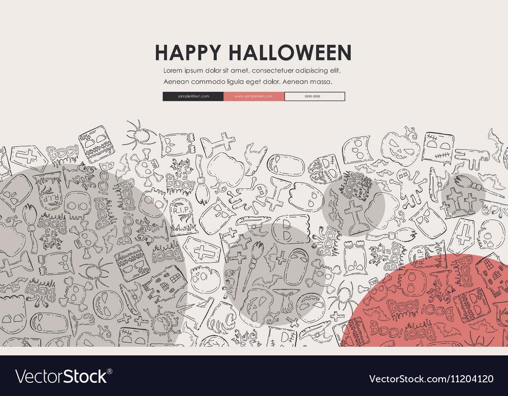 Halloween Doodle Website Template Design Vector Image