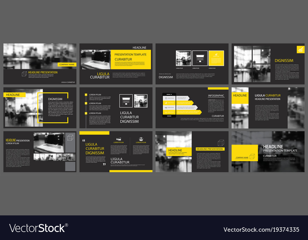 Black yellow presentation templates and Royalty Free Vector