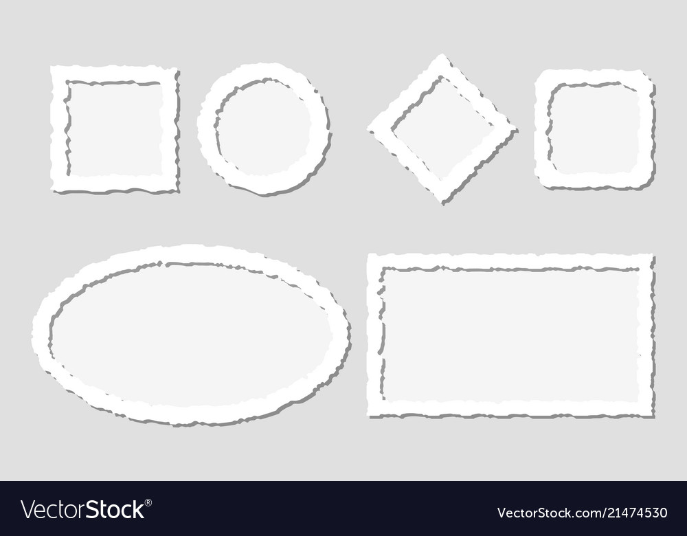 Set of white torn paper frames with Royalty Free Vector