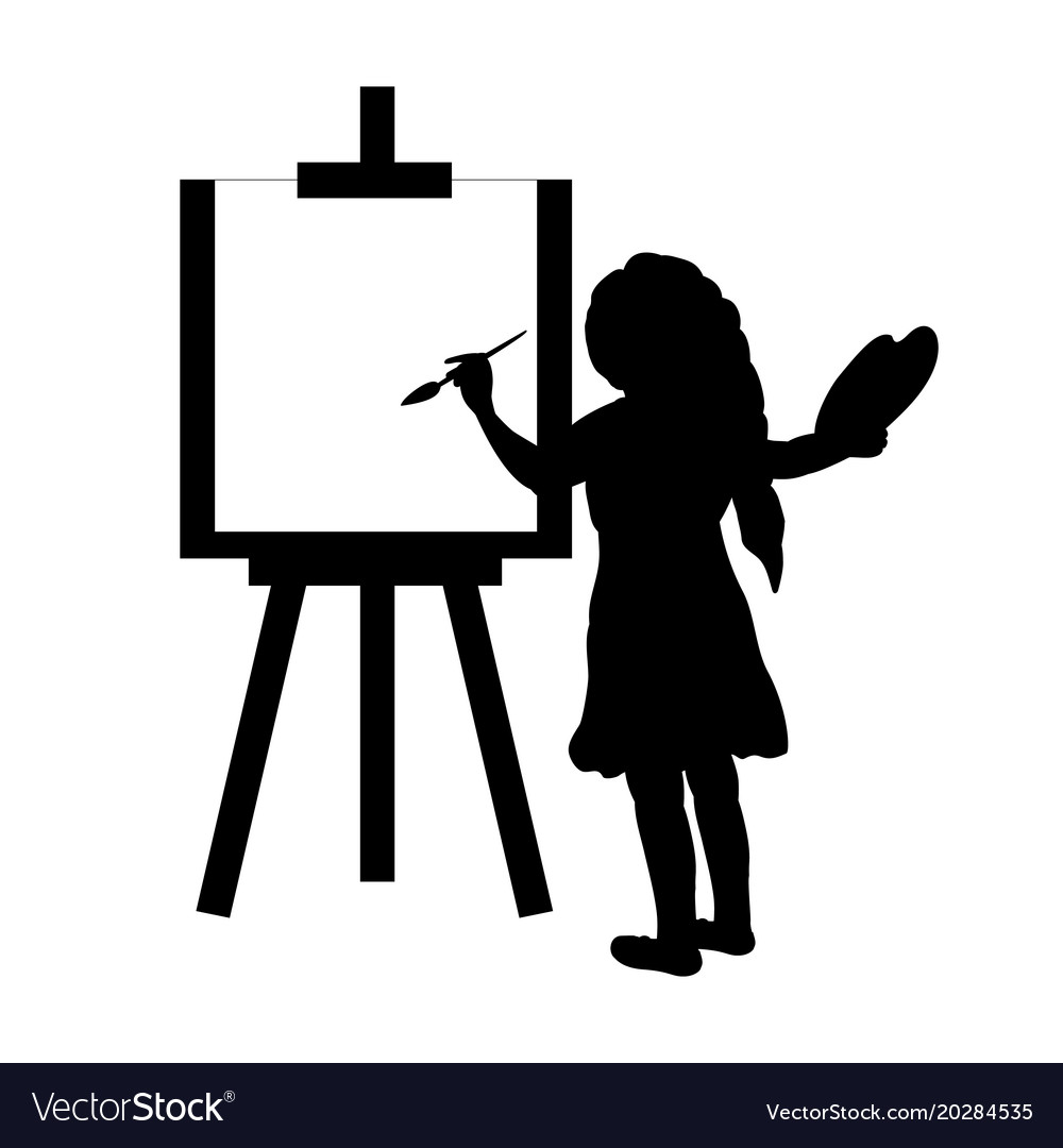 Silhouette Girl Artist Paints On Canvas Royalty Free Vector