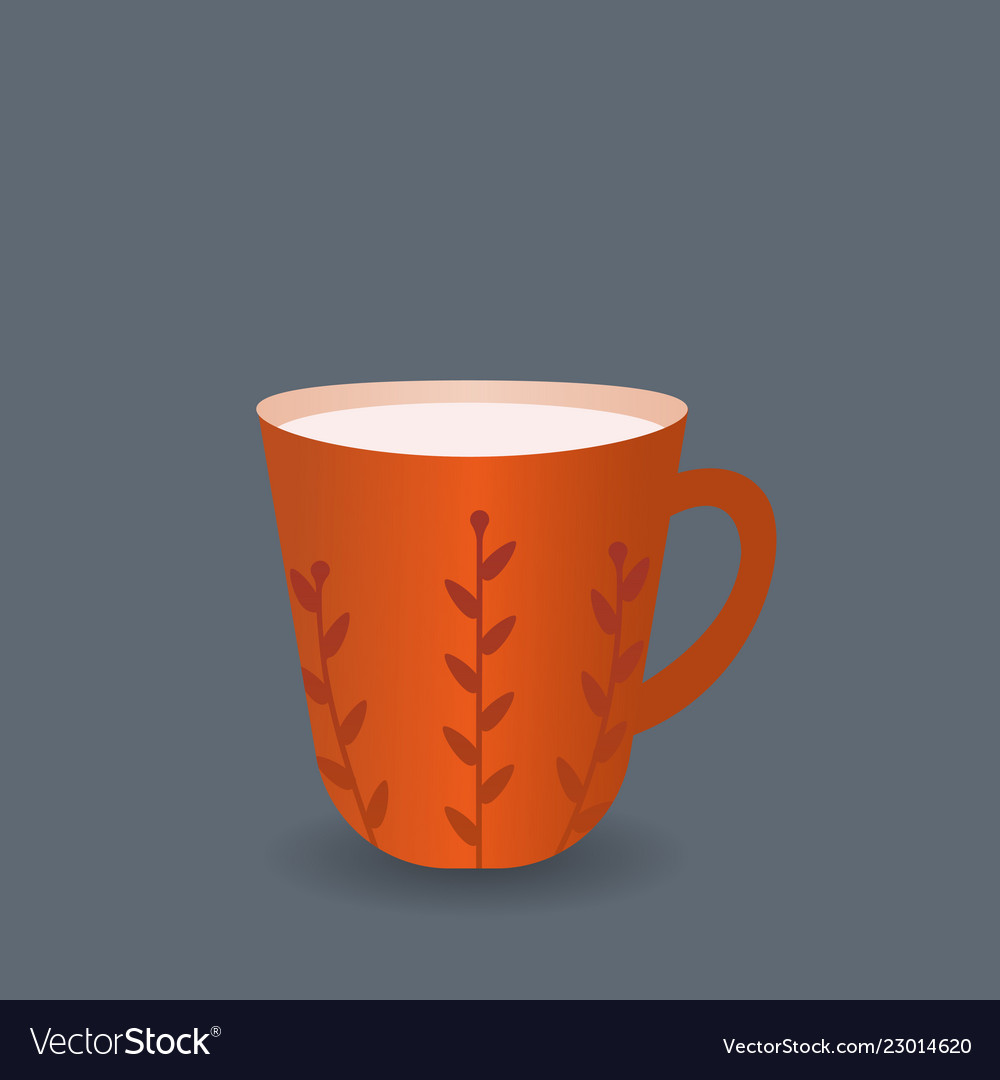 Mug A Cafe Red Coffee Mug Flat Design Style