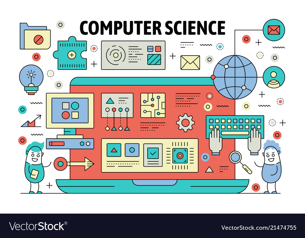 Thin line computer science poster banner Vector Image