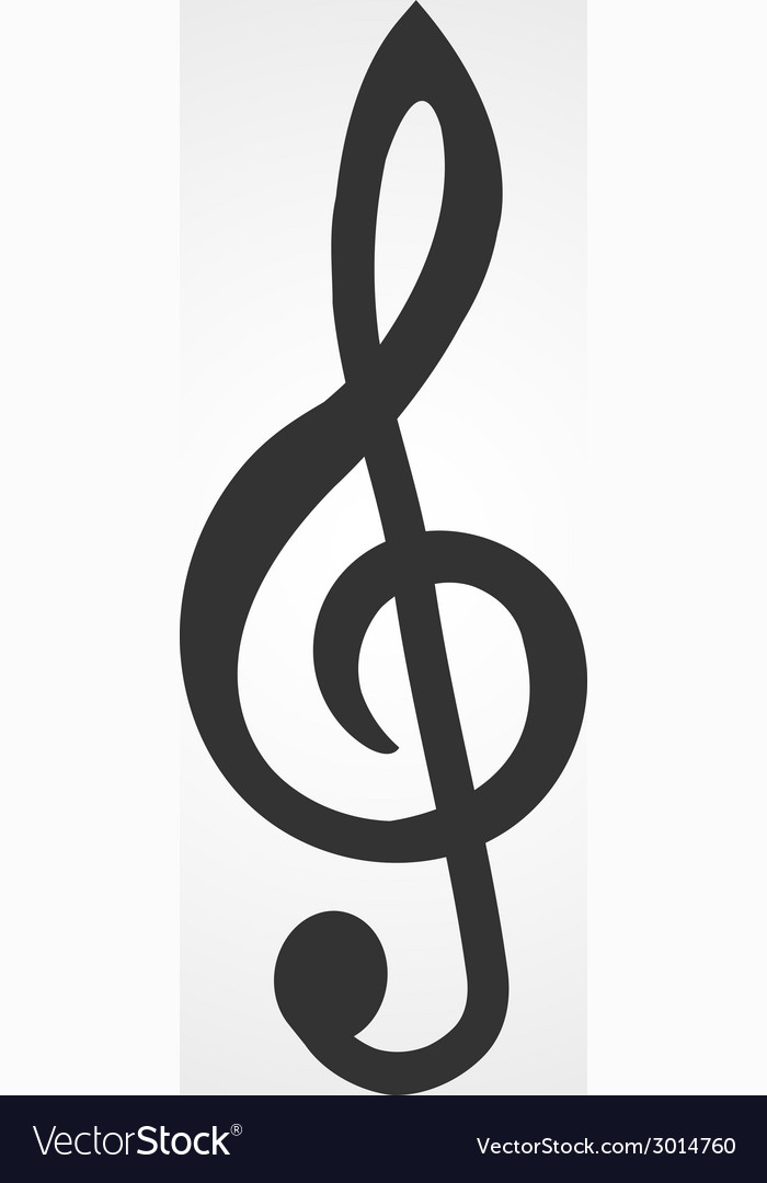Treble clef icon flat design Royalty Free Vector Image