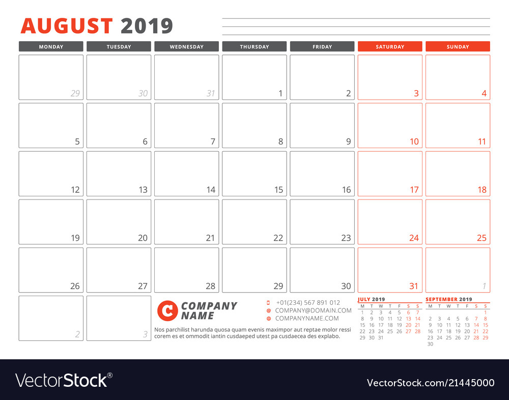 Calendar template for august 2019 business Vector Image - calendar template
