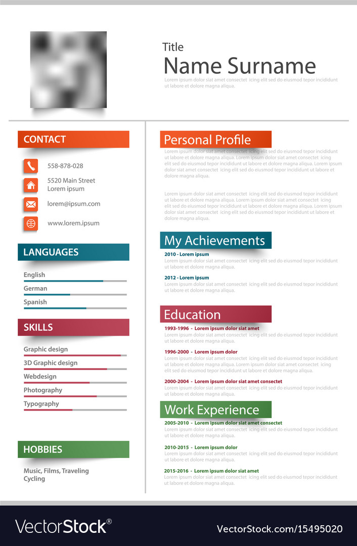 Professional resume cv with color stickers Vector Image