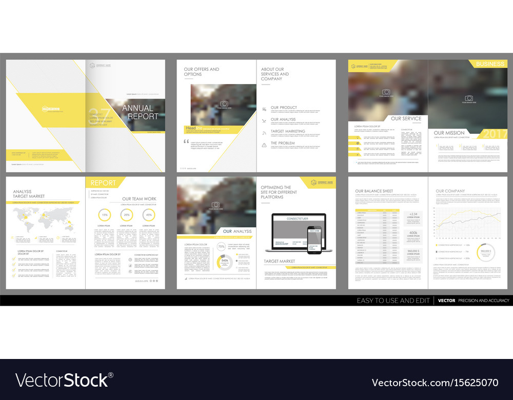 Design annual report template brochures Royalty Free Vector - annual report template design