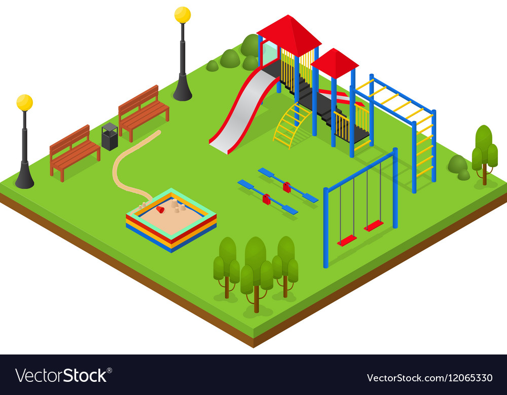 Outdoor Playground Isometric View Royalty Free Vector Image - isometric view