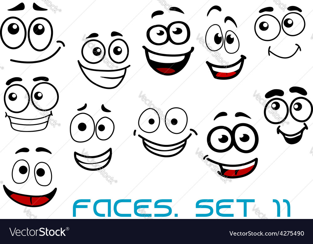 Funny happy faces cartoon characters Royalty Free Vector